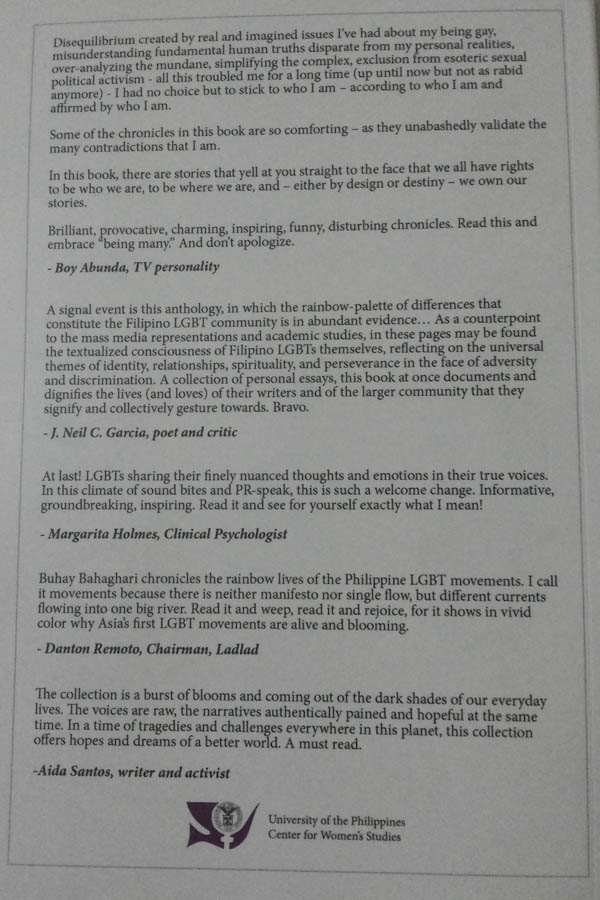 Buhay Bahaghari: The Filipino LGBT Chronicles book launch