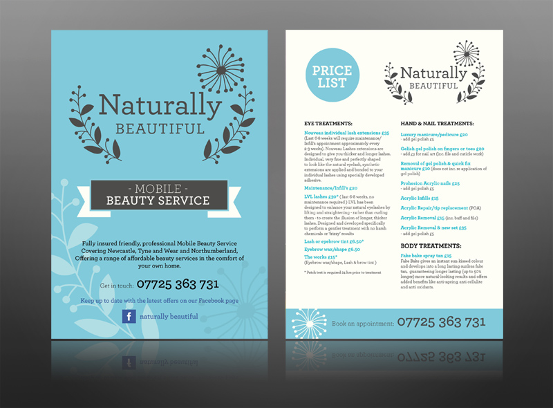 Naturally Beautiful Mobile Beauty Therapist Leaflet