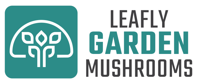 Leafly Gardens Mushrooms Logo Header Design 1