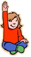 Girl raising hand, with enthusiasm