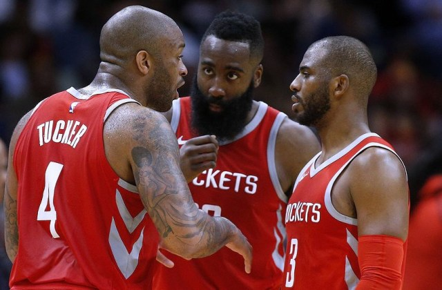 NEW ORLEANS, LA - MARCH 17: James Harden #13 of the Houston Rockets, Chris Paul #3 and PJ Tucker #4 talk during the second half against the New Orleans Pelicans at the Smoothie King Center on March 17, 2018 in New Orleans, Louisiana. NOTE TO USER: User expressly acknowledges and agrees that, by downloading and or using this photograph, User is consenting to the terms and conditions of the Getty Images License Agreement. (Photo by Jonathan Bachman/Getty Images)