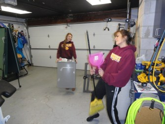 cleanin' and jammin' in garage