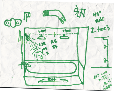 original shower drawing