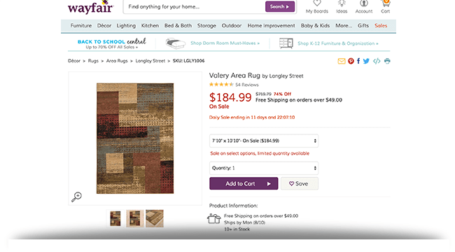 Valery area rug Wayfair