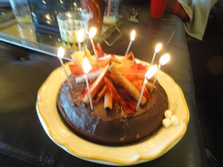 DIY bonfire cake