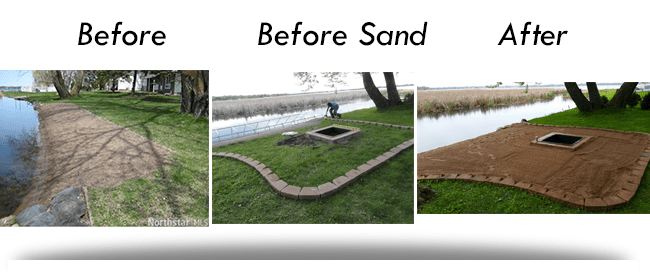 before and after pic beach bonfire pit DIY