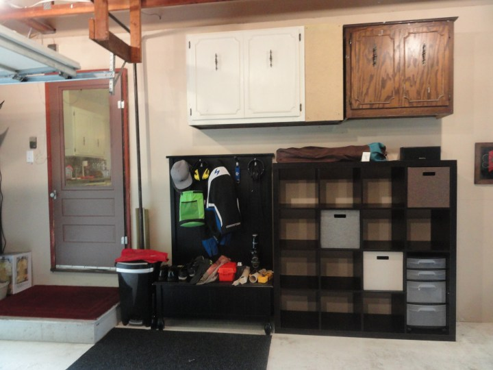 garage storage mud room hanging cupboards