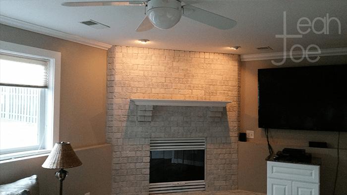 DIY whitewash brick fireplace
