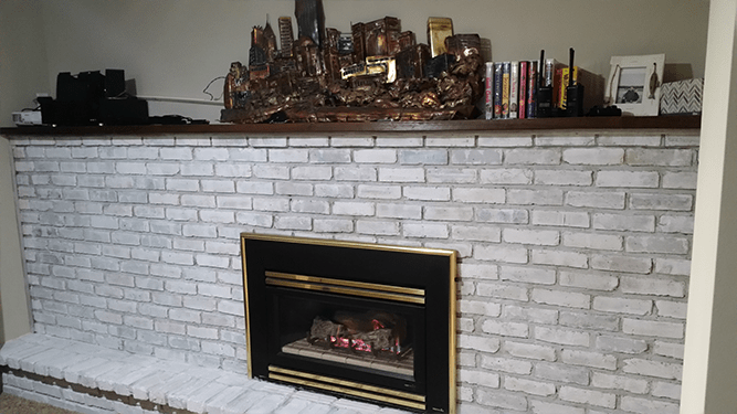 DIY whitewash fireplace