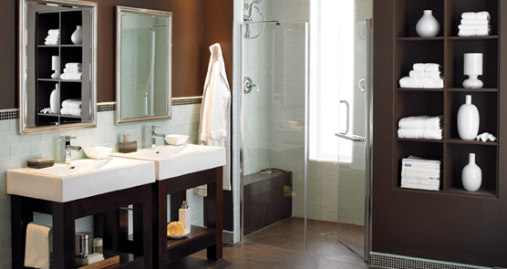Modern Bathroom vanity double white sinks