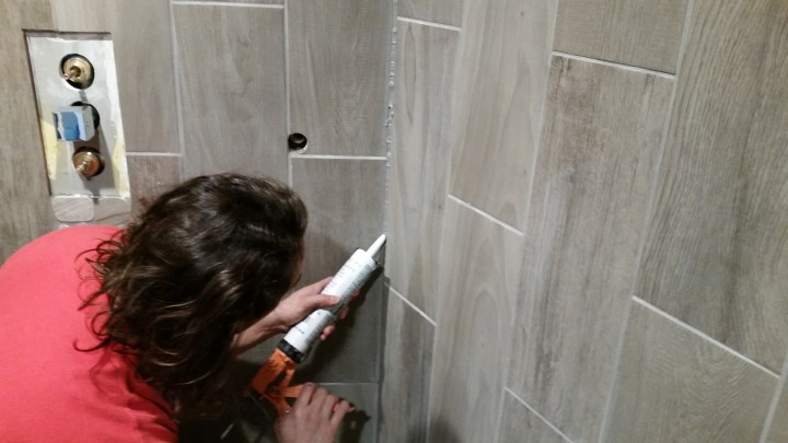 caulk shower tile