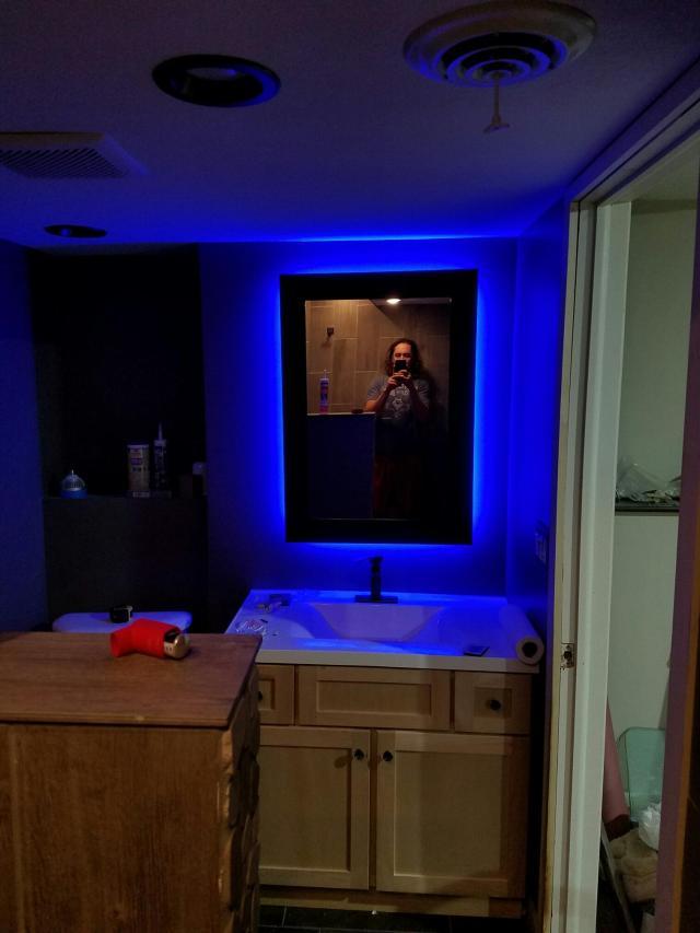Bathroom Remodel DIY Backlit Mirror Leah and Joe Home DIY