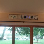 DIY welcome sign reclaimed wood