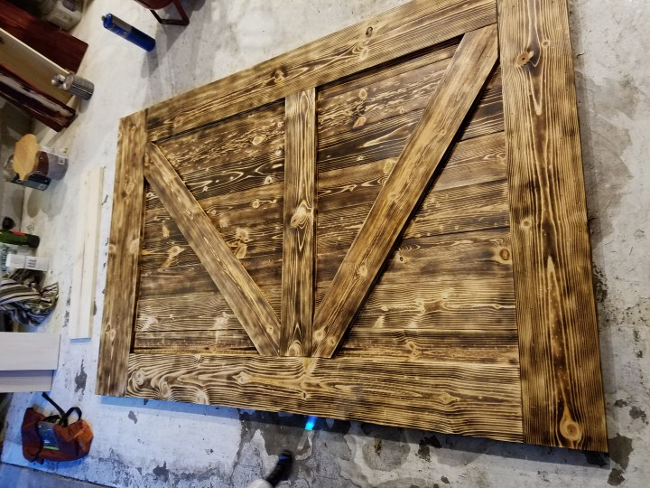 wood burning DIY barn door assembly