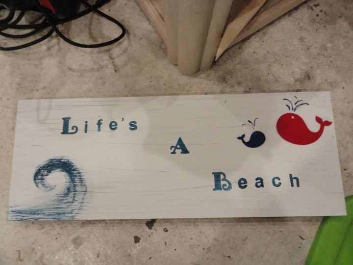 DIY reclaimed wood signs stamp life's a beach