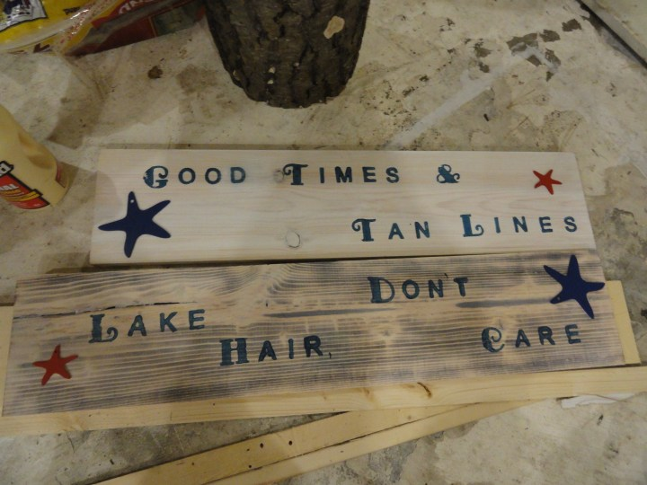 DIY reclaimed wood signs stamps