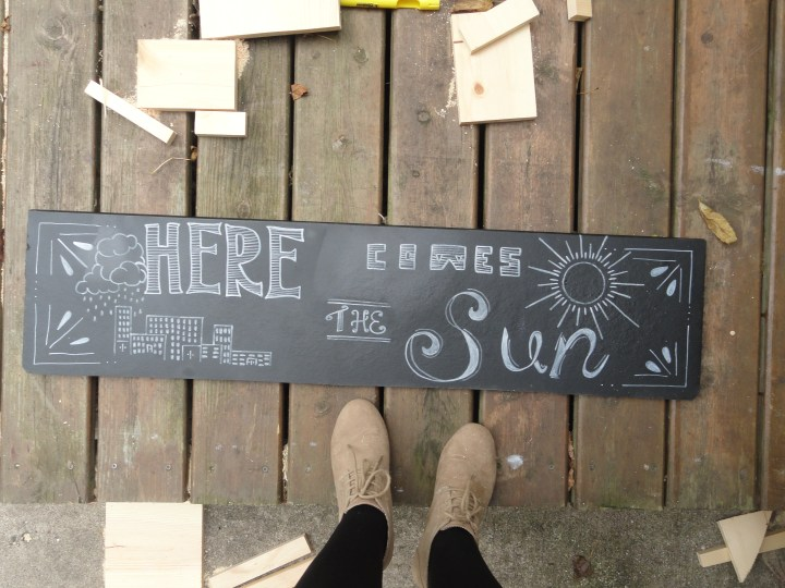 DIY reclaimed wood signs chalk paint here comes the sun the Beatles