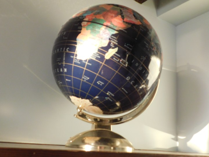 blue and gold globe