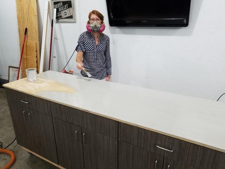 DIY work bench kitchen cupboards
