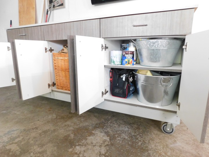 DIY work bench kitchen cupboards