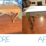 Sofa Table with DIY Grain Sack Stripe