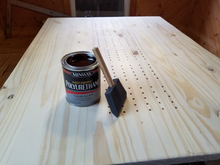 DIY ice shack house lake ice fishing permanent woodworking stain table poly