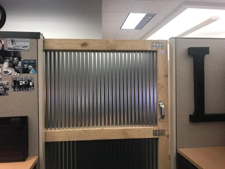 corrugated metal barn door