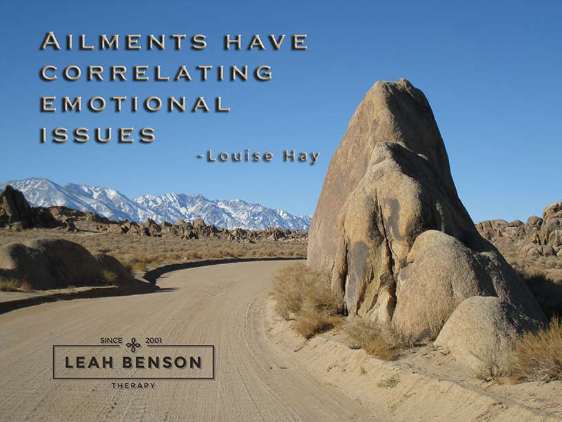 """Photo of the Alabama Hills with the quote, """"Ailments have Correlating Emotional Issues"""""""
