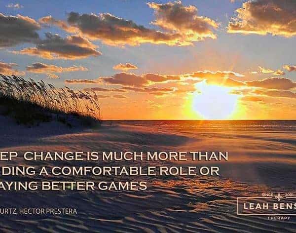 "Photo of St Pete Beach with quote, ""Deep change is much more than finding a comfortable role or playing better games."""