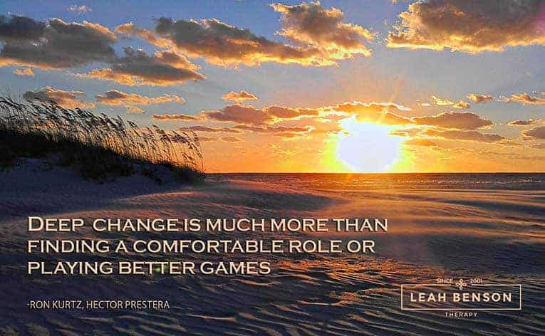 """Photo of St Pete Beach with quote, """"Deep change is much more than finding a comfortable role or playing better games."""""""