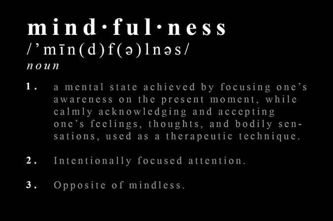 white text on black background depicting the definition of Mindfulness