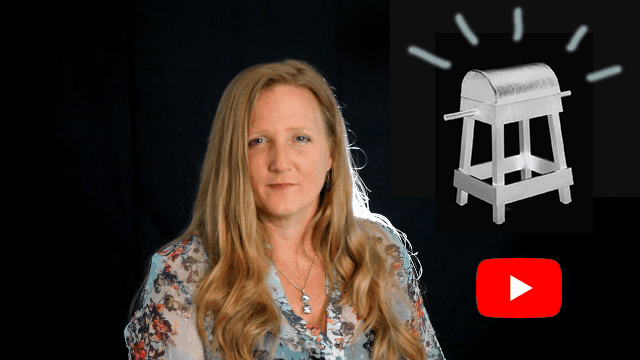 Leah Benson with a Bioenergetic Breathing Stool and YouTube icon