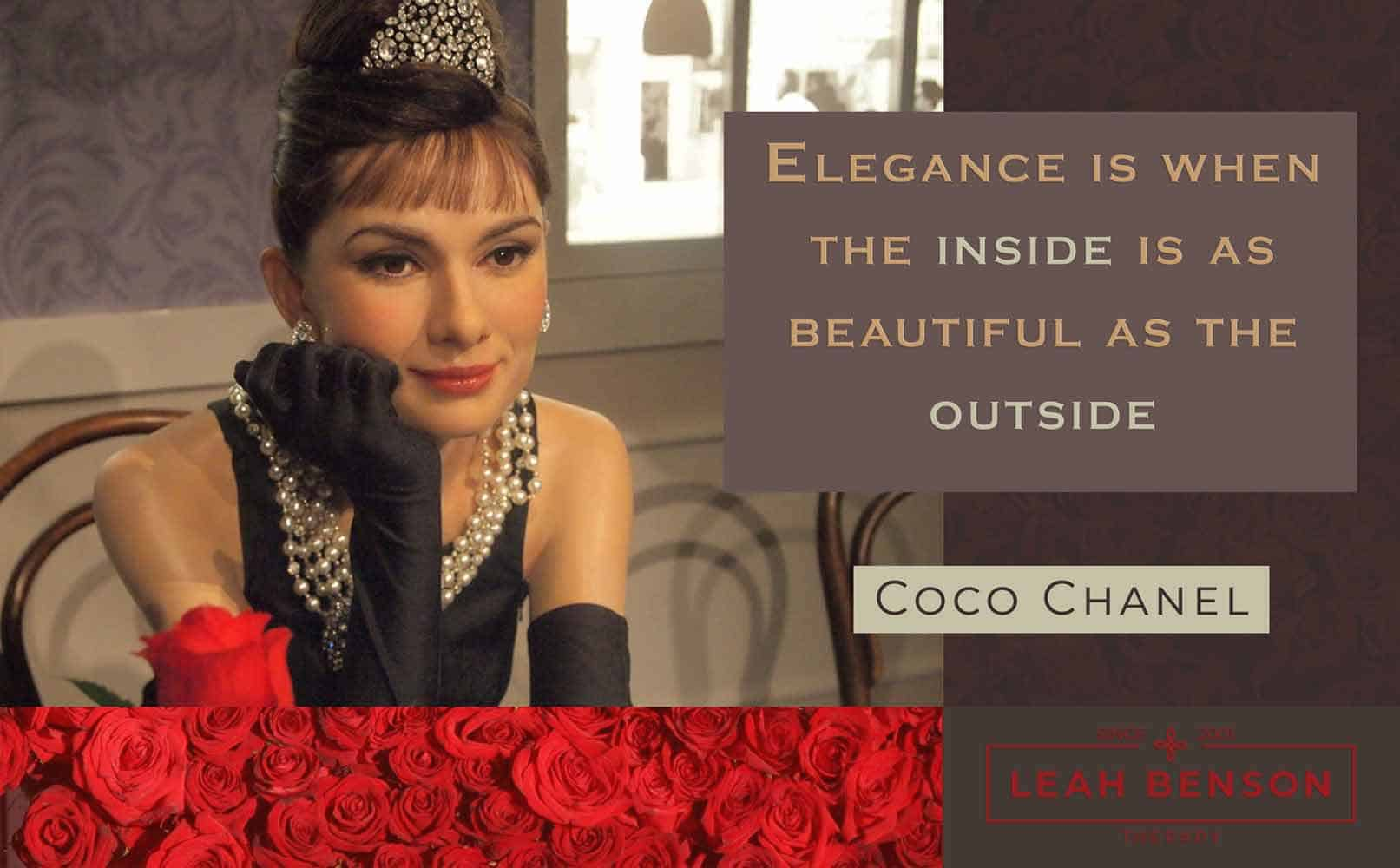photo of audrey hepburn with text, Elegance is when the Inside is as Beautiful as the Outside