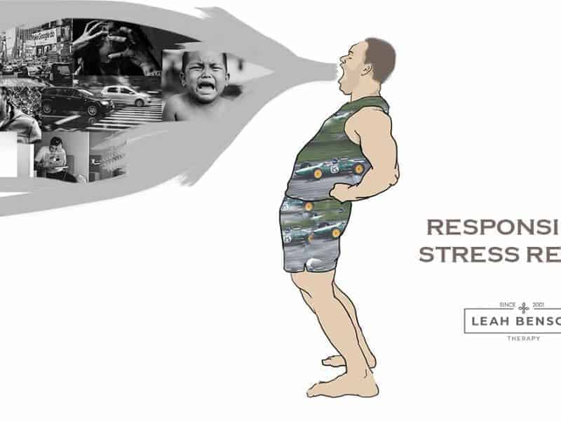 Responsible Stress Relief - Illustration of man doing bioenergetic exercise