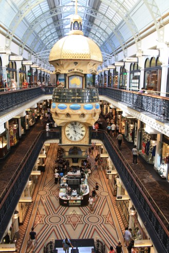 QVB - multi level old building that has been converted into a high end mall