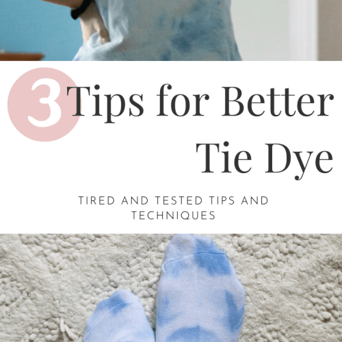 3 Tips for better tie dye. A light blue tie dye t-shirt and tie dye socks