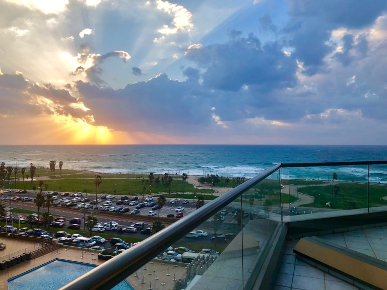 Beautiful sunset from the Intercontinental Tel Aviv, taken by Leah Gervais