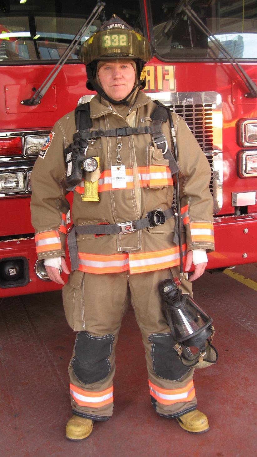 hight resolution of morgan in full firefighting gear