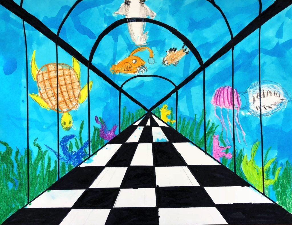 Aquarium Perspective Lesson Art For Kids