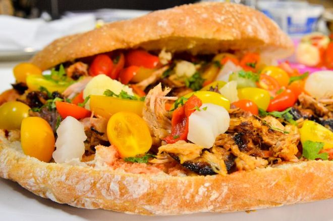 Delicious Maltese #ftira with traditional kunserva, giardinera and pulled pork as seen on TV