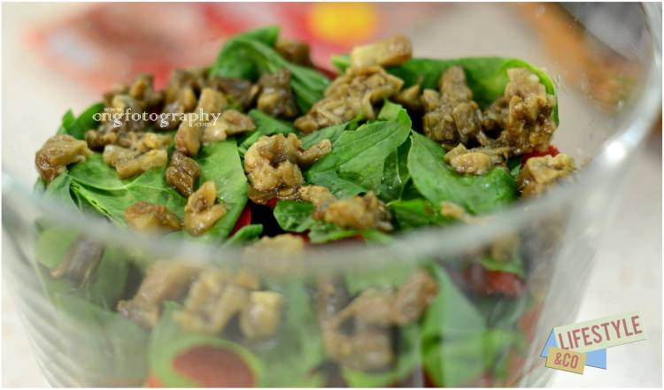 smoked aubergine and spinach salad