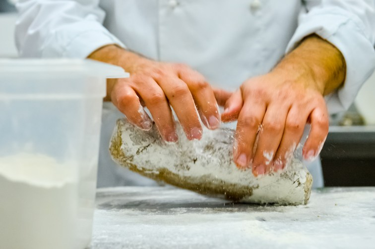 Lightly kneading the dough