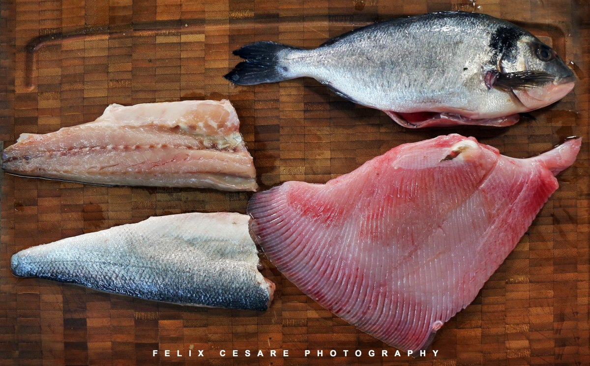 skate seabream and bass