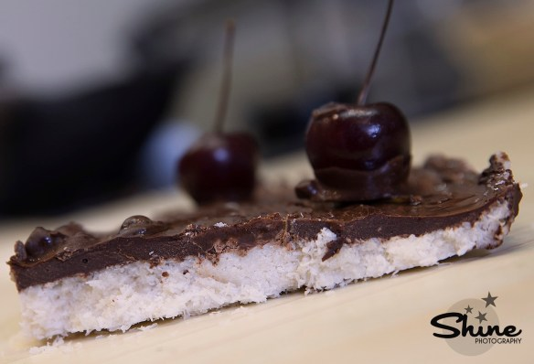 coconut chocolate cherry slice