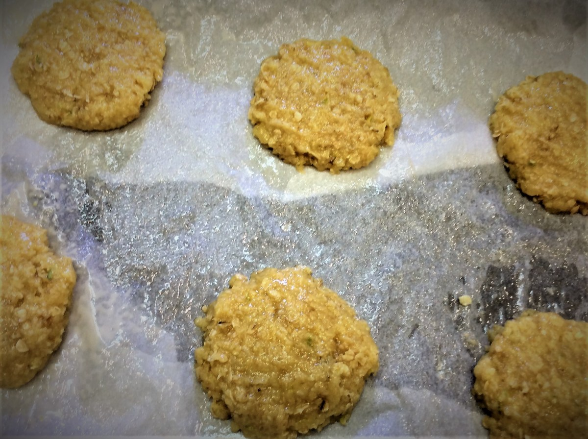 anzac raw cookies on tray
