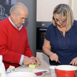 John and Pippa prepare ingredients