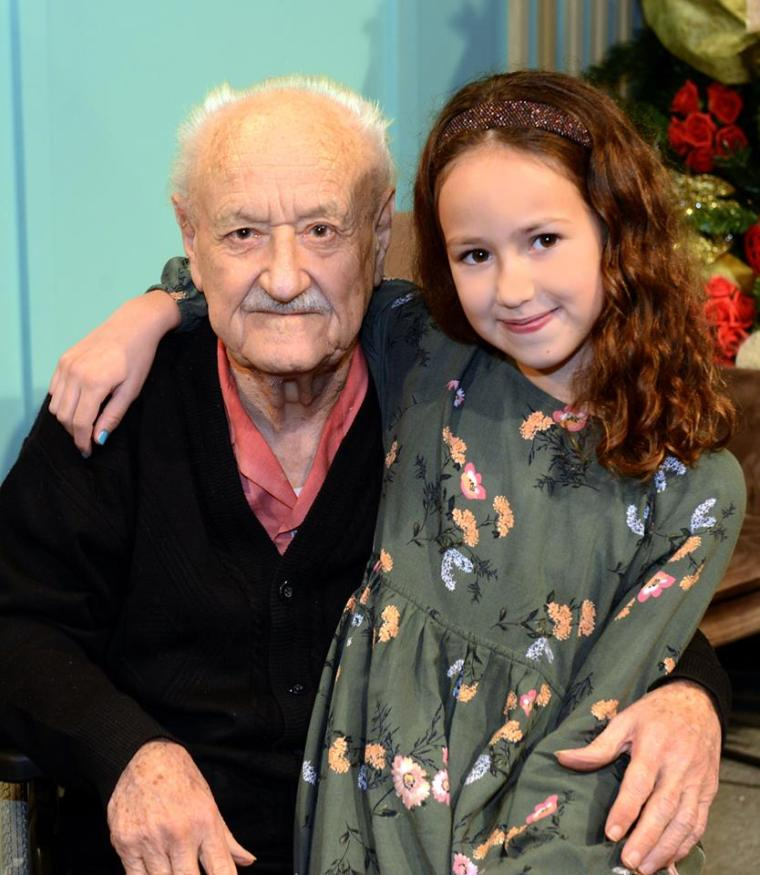 Emma Bonello with Grandpa Francesco Theuma