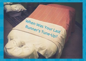 """Photo of massage table with title, """"When was your last runner's tune-up?"""""""