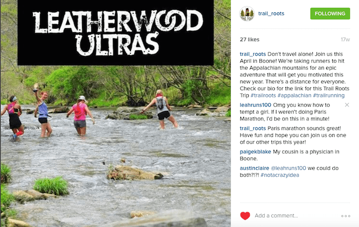 Screenshot of Trail Roots Instagram post on the Leatherwood Ultra trip.