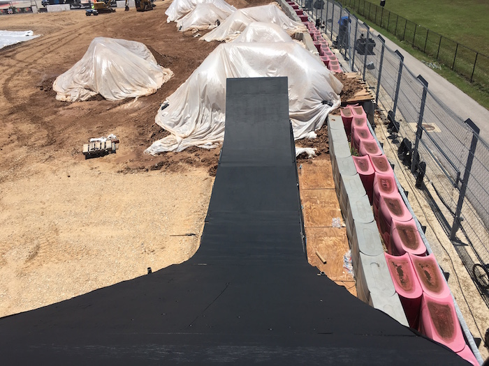 Looking down the BMX Dirt ramp during construction at X Games Austin 2016.